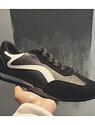 Homens sapatos Couro Ecológico Primavera Outono Conforto Tênis para Casual Ao ar livre Branco/Preto Preto/Amarelo
