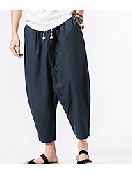abordables -Hombre Algodón Chinos Pantalones - Un Color