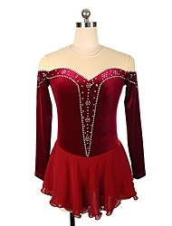 cheap -Figure Skating Dress Women's / Girls' Ice Skating Dress Burgundy Spandex strenchy Professional Skating Wear Rhinestone / Sequin Long