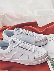 baratos -Homens sapatos Courino Primavera Outono Conforto Tênis para Casual Branco Preto