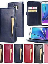 abordables -Funda Para Samsung Galaxy Note 5 Cartera / Soporte de Coche / con Soporte Funda de Cuerpo Entero Un Color Dura Cuero de PU para Note 5