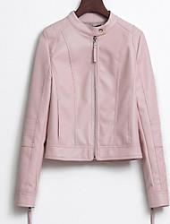 baratos -Mulheres Jaquetas de Couro Básico-Sólido Estampado