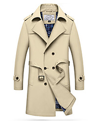 cheap -Men's Trench Coat - Solid Colored, Oversized / Long Sleeve
