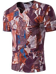 billige -V-hals Herre - Geometrisk T-shirt / Kortærmet