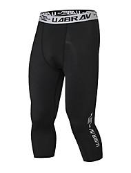 billiga -Herr 3/4-capribyxor för jogging - Svart sporter Enfärgad 3/4 Strumpbyxor / Leggings Motion & Fitness Sportkläder Mateial som andas Elastisk