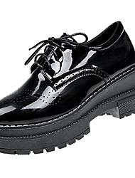 女性用 靴 PUレザー 春 秋 コンフォートシューズ オックスフォードシューズ フラットヒール のために アウトドア ブラック