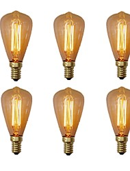 abordables -6pcs 40W E14 ST48 Blanco Cálido 2200-2700 K Retro Regulable Decorativa Bombilla incandescente Vintage Edison 220-240V V