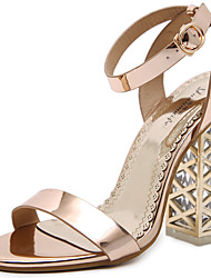 cheap -Women's Shoes Patent Leather Spring Summer Basic Pump Gladiator Sandals Chunky Heel for Casual Party & Evening Gold Black