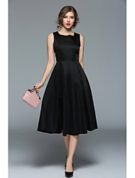 cheap -Women's Vintage Casual Slim Sheath Little Black Dress - Solid Colored, Pleated High Waist
