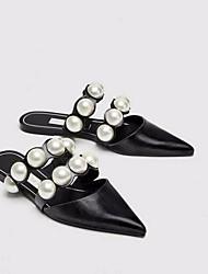 abordables -Femme Chaussures Cuir Printemps / Automne Confort Sabot & Mules Talon Plat Noir
