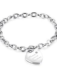 abordables -Breloque Charms Bracelet Femme Acier au titane Inoxydable Cœur dames Bracelet Bijoux Argent Or Rose Forme de Cercle pour Cérémonie Fête scolaire