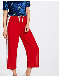 cheap -Women's Plus Size Wide Leg Pants - Striped Print