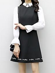 povoljno -Žene Majica Haljina - Vezeno, Jednobojni