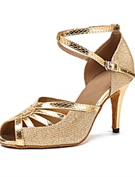 cheap -Women's Latin Shoes Leatherette / Tulle Sandal / Heel Professional Customized Heel Customizable Dance Shoes Gold