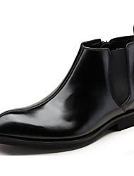 baratos -Homens sapatos Pele Napa / Pele Outono / Inverno Conforto / Coturnos Botas Botas Curtas / Ankle Preto / Vinho