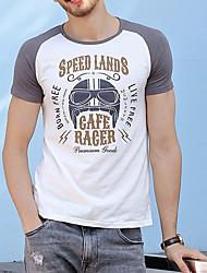 economico -T-shirt Per uomo Basic, Alfabetico Rotonda - Cotone / Manica corta