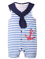 cheap -Baby Boys' Daily Striped One-Pieces, Polyester Spring Basic Sleeveless Navy Blue