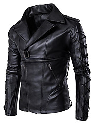 cheap -Men's Leather Jacket - Solid Colored Shirt Collar / Long Sleeve