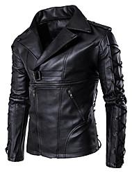 Недорогие -Муж. Кожаные куртки Рубашечный воротник На каждый день-Однотонный