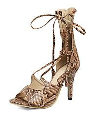 economico -Per donna Scarpe Finta pelle Primavera / Estate Innovativo / Cinturino alla caviglia Sandali A stiletto Punta aperta Nappa Beige / Blu /