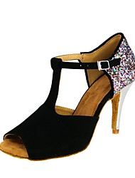 cheap -Women's Latin Shoes Flocking / Sparkling Glitter Sandal / Heel Customized Heel Customizable Dance Shoes Black / Professional