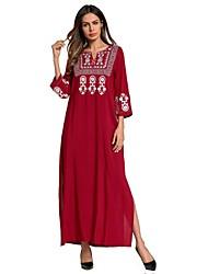 Недорогие -Жен. Крупногабаритные Свободный силуэт Платье - Цветочный принт Контрастных цветов, Классический Вышивка Макси