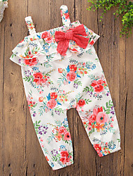 cheap -Girls' Daily Going out Floral Overall & Jumpsuit, Cotton Polyester Summer Sleeveless Simple Casual Rainbow
