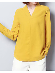 cheap -Women's Basic Puff Sleeve Blouse - Solid Colored V Neck