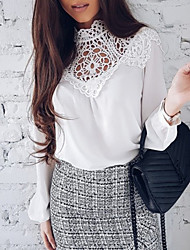 cheap -Women's Blouse - Solid Colored, Lace Cut Out Patchwork