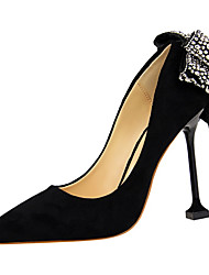 cheap -Women's Shoes Suede Spring Fall Novelty Comfort Heels Stiletto Heel Pointed Toe Rhinestone Bowknot for Wedding Party & Evening Black Red