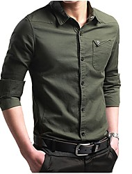 cheap -Men's Military Punk & Gothic Plus Size Cotton Slim Shirt - Solid Colored, Basic