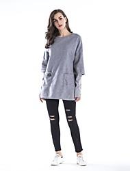 preiswerte -Frauen täglichen Urlaub einfachen festen Rundhals plus Größe Sweatshirt Regular, langen Ärmeln Frühling Baumwolle Polyester