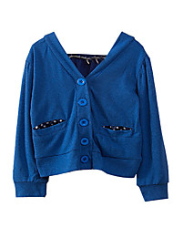 preiswerte -Mädchen Pullover & Cardigan Alltag Festtage Solide Baumwolle Polyester Frühling Herbst Langarm Aktiv Blau Rote