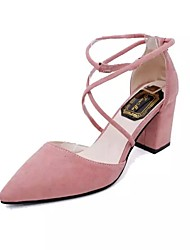 baratos -Mulheres Sapatos Couro Ecológico Primavera / Verão Conforto / Plataforma Básica Sandálias Salto Agulha Dedo Apontado Presilha Preto /