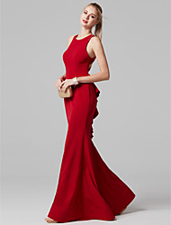 cheap -Mermaid / Trumpet Jewel Neck Floor Length Spandex Prom / Formal Evening Dress with Ruffles by TS Couture®