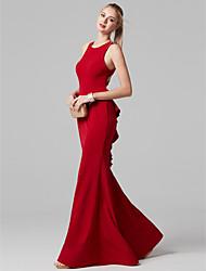 baratos -Sereia Decorado com Bijuteria Longo Elastano Baile de Formatura / Evento Formal Vestido com Fru-Fru de TS Couture®