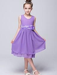 abordables -Robe Fille de Soirée Couleur Pleine Polyester Eté Sans Manches Mignon Rouge Violet