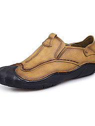 Недорогие -Муж. Комфортная обувь Наппа Leather Наступила зима На каждый день Мокасины и Свитер Нескользкий Черный / Темно-русый / Хаки