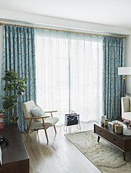 cheap -Blackout Curtains Drapes Bedroom Floral Plants Polyester Blend Printed