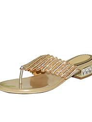 abordables -Mujer Zapatos Poliuretano Primavera / Verano Botas de Moda Sandalias Tacón Bajo Puntera abierta Pedrería / Cristal / Purpurina Dorado /