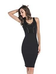 baratos -Mulheres Feriado Básico Algodão Tricô Vestido Sólido Decote V Altura dos Joelhos