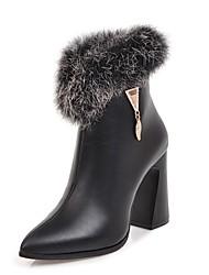 baratos -Mulheres Sapatos Courino Inverno Botas da Moda Botas Salto Robusto Dedo Apontado Botas Cano Médio para Festas & Noite Preto Bege Marron