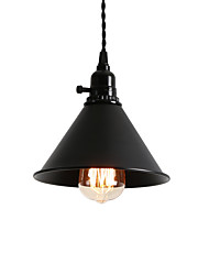 cheap -Vintage Loft Black Metal Shade Pendant Lights With Switch Dining Room Entry Hallway Cafe Mini Light Fixture
