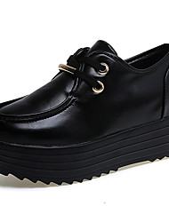 cheap -Women's Shoes PU Spring Fall Comfort Oxfords Flat Heel Round Toe for Casual White Black Light Black