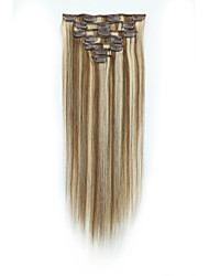 cheap -Clip In Human Hair Extensions 7Pcs/Pack 70g/pack Medium Brown/Strawberry Blonde Medium Brown/Bleach Blonde Golden Brown/Bleach Blonde