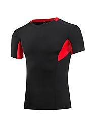abordables -Homme Tee-shirt de Course Manches Courtes Respirabilité Tee-shirt pour Exercice & Fitness Polyester Bleu / Noir / Rouge / Gris XL / XXL /