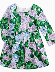 cheap -Girl's Daily Solid Dress, Cotton Linen Bamboo Fiber Acrylic Spring Long Sleeves Vintage Green