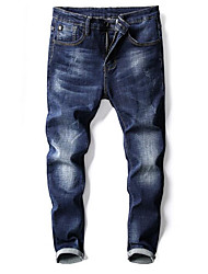 cheap -Men's Street chic Jeans Pants - Solid Colored, Pleated