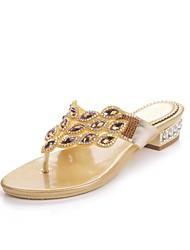 baratos -Mulheres Sapatos Poliuretano Primavera / Verão Botas da Moda Sandálias Salto Baixo Dedo Aberto Pedrarias / Cristais / Gliter com Brilho