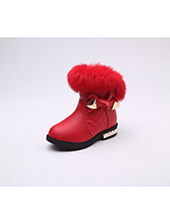 cheap -Girls' Shoes Cowhide Winter Fall Snow Boots Comfort Boots Walking Shoes Mid-Calf Boots Bowknot for Casual Black Pink